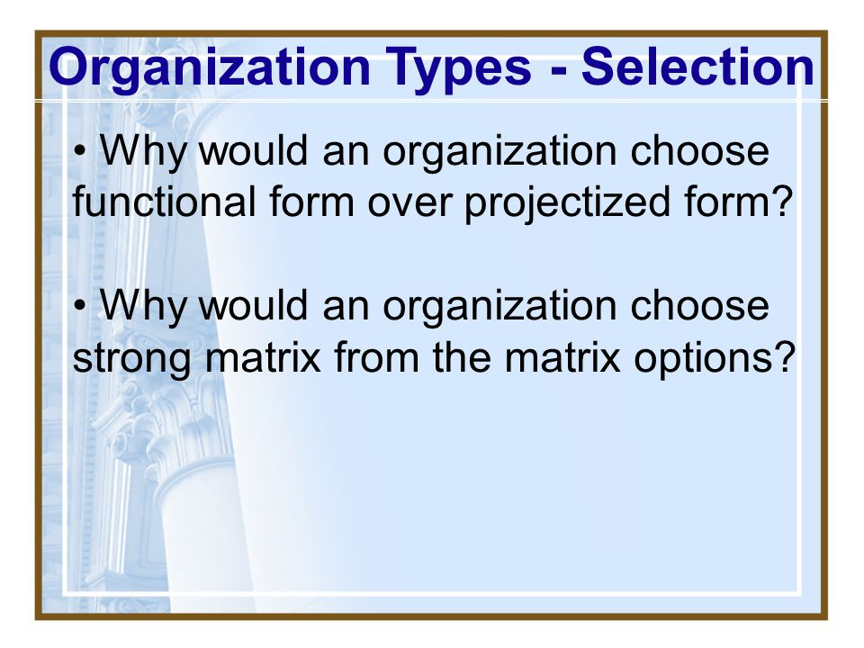 Organization Types - Selection