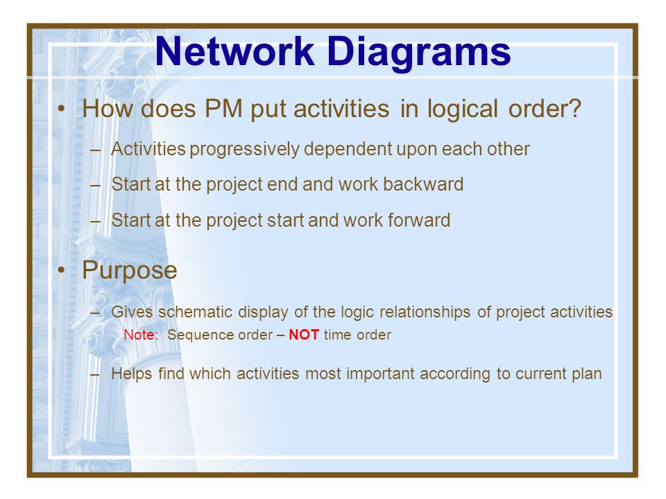 Network Diagrams How does PM put activities in logical order Purpose