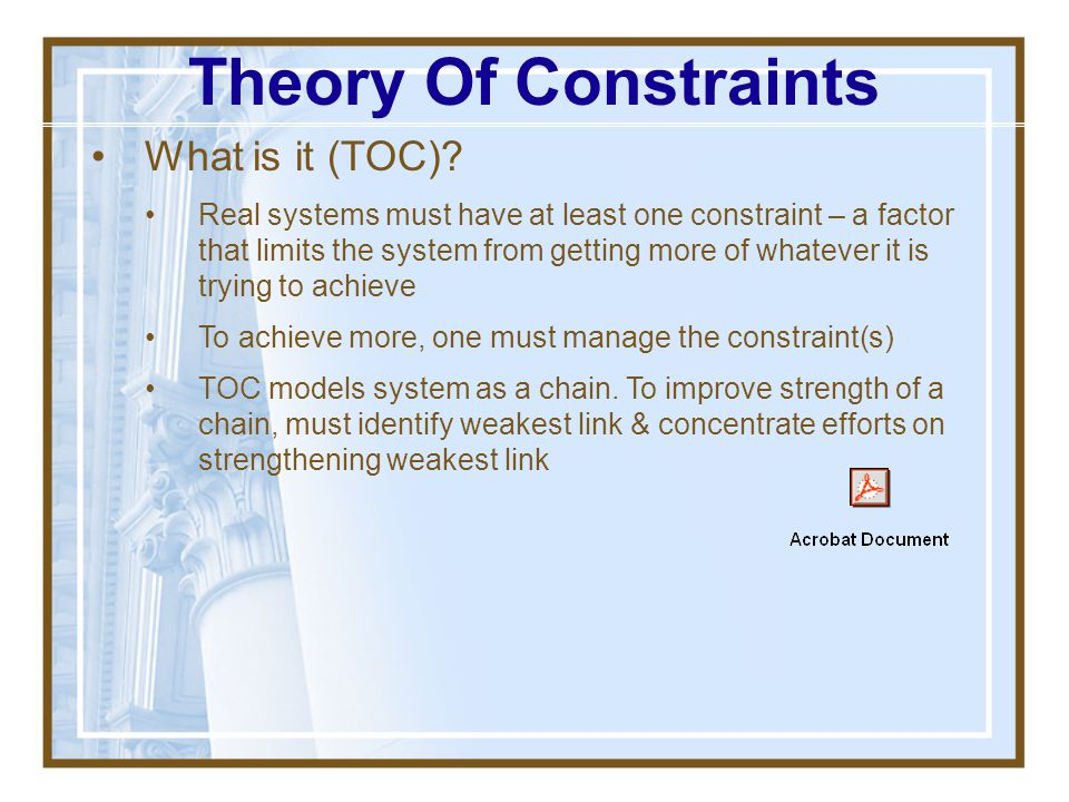 Theory Of Constraints What is it (TOC)