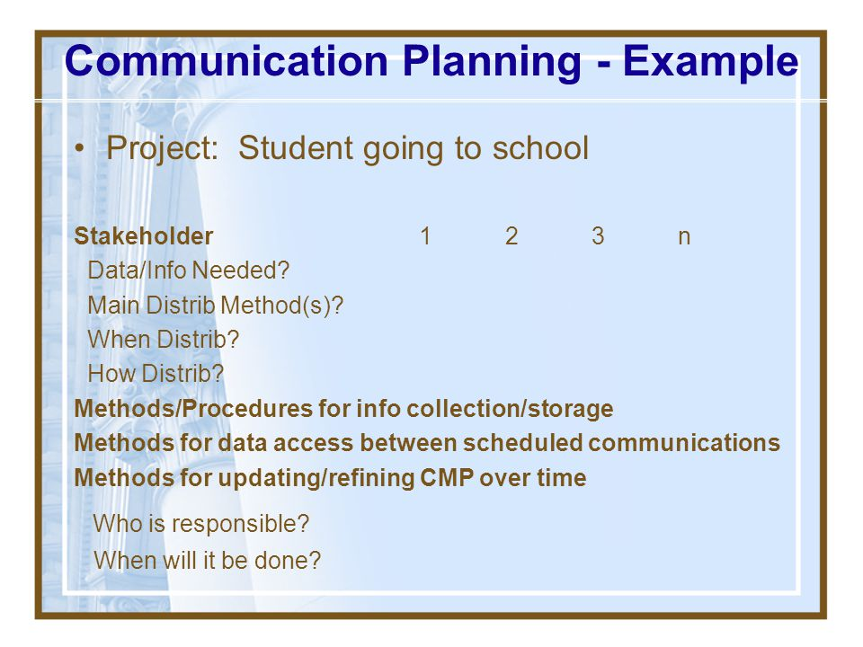 Communication Planning - Example