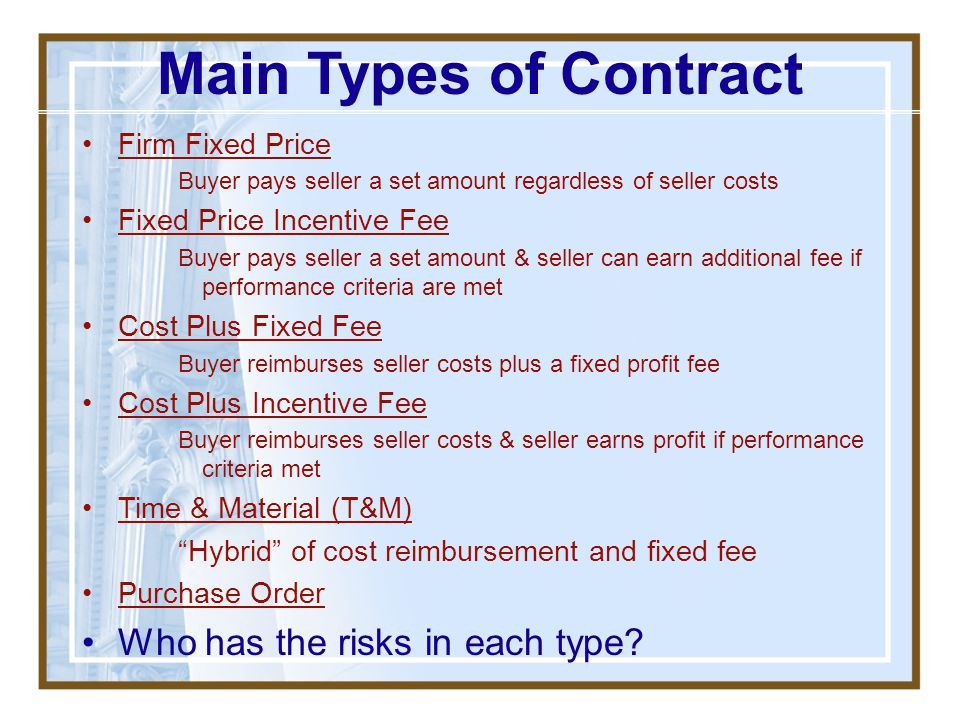 Main Types of Contract Who has the risks in each type