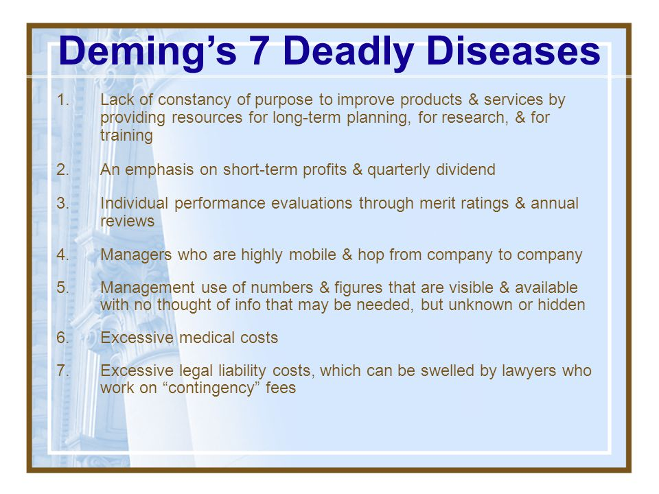 Deming's 7 Deadly Diseases