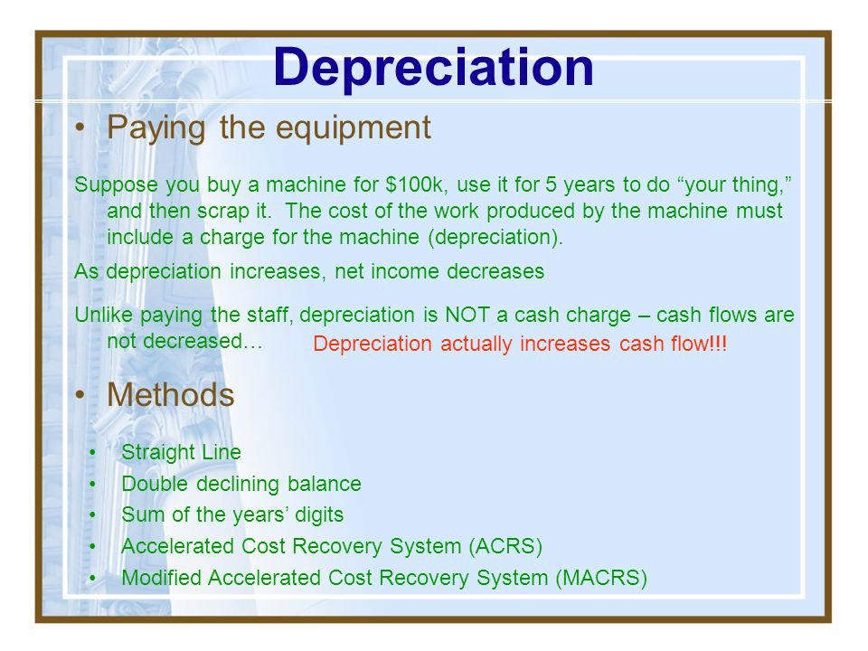 Depreciation Paying the equipment Methods