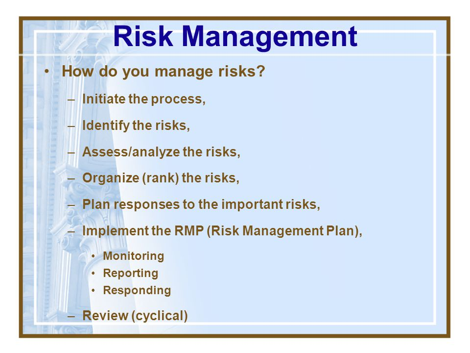 Risk Management How do you manage risks Initiate the process,