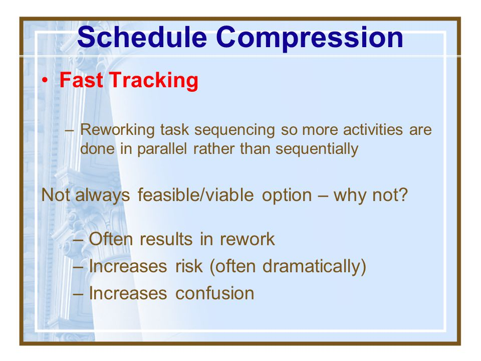 Schedule Compression Fast Tracking