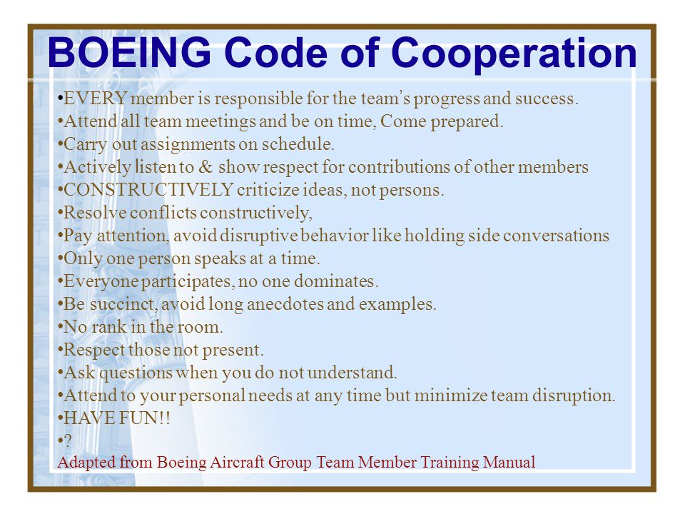 BOEING Code of Cooperation