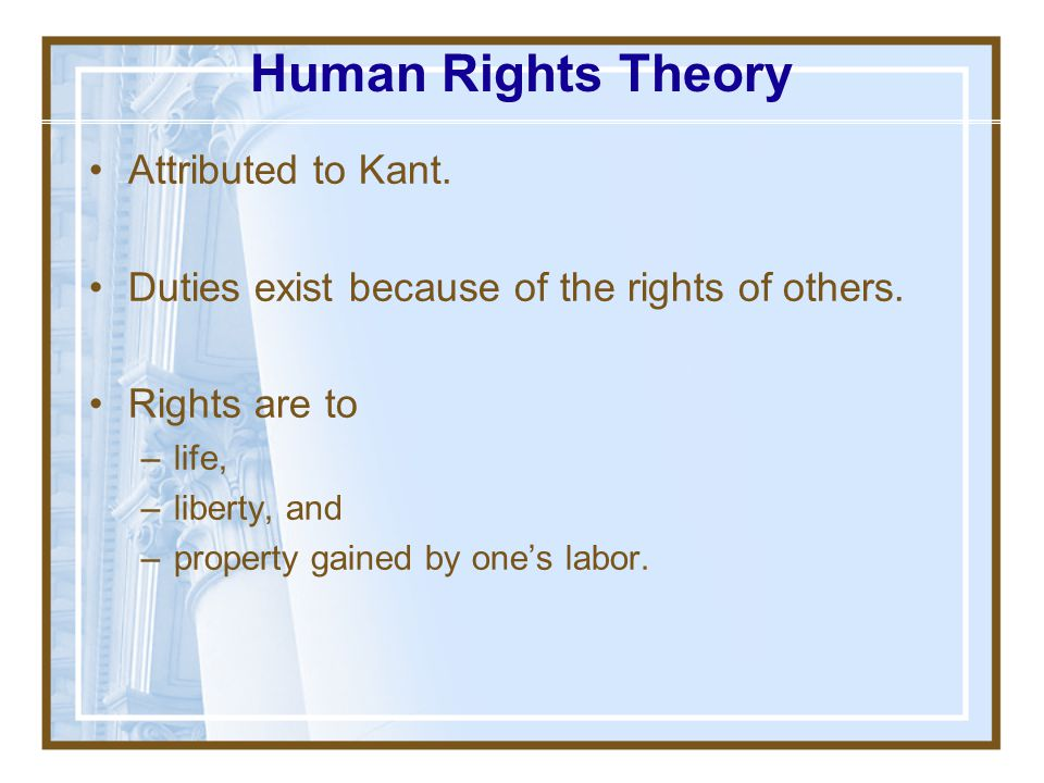 Human Rights Theory Attributed to Kant.