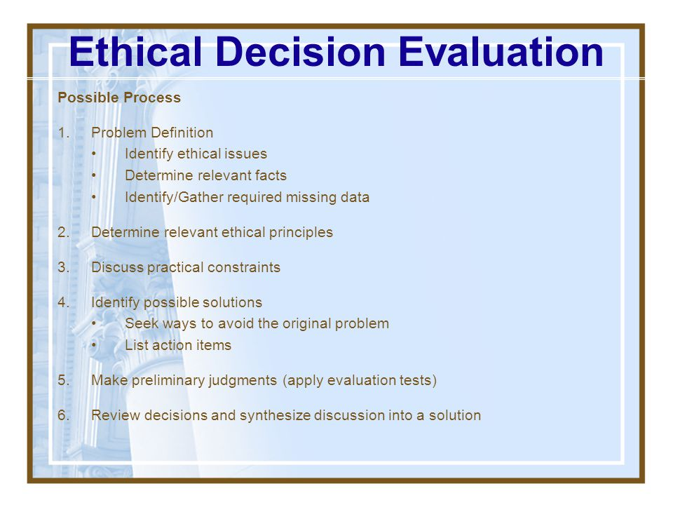Ethical Decision Evaluation