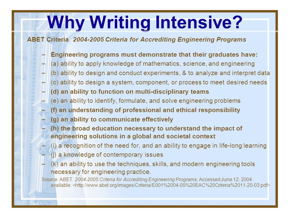 Why Writing Intensive ABET Criteria Criteria for Accrediting Engineering Programs.