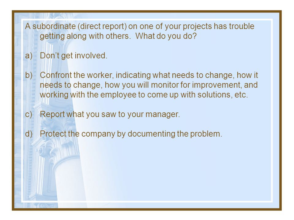A subordinate (direct report) on one of your projects has trouble getting along with others. What do you do