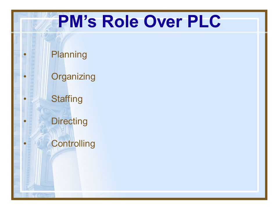 PM's Role Over PLC • Planning • Organizing • Staffing • Directing