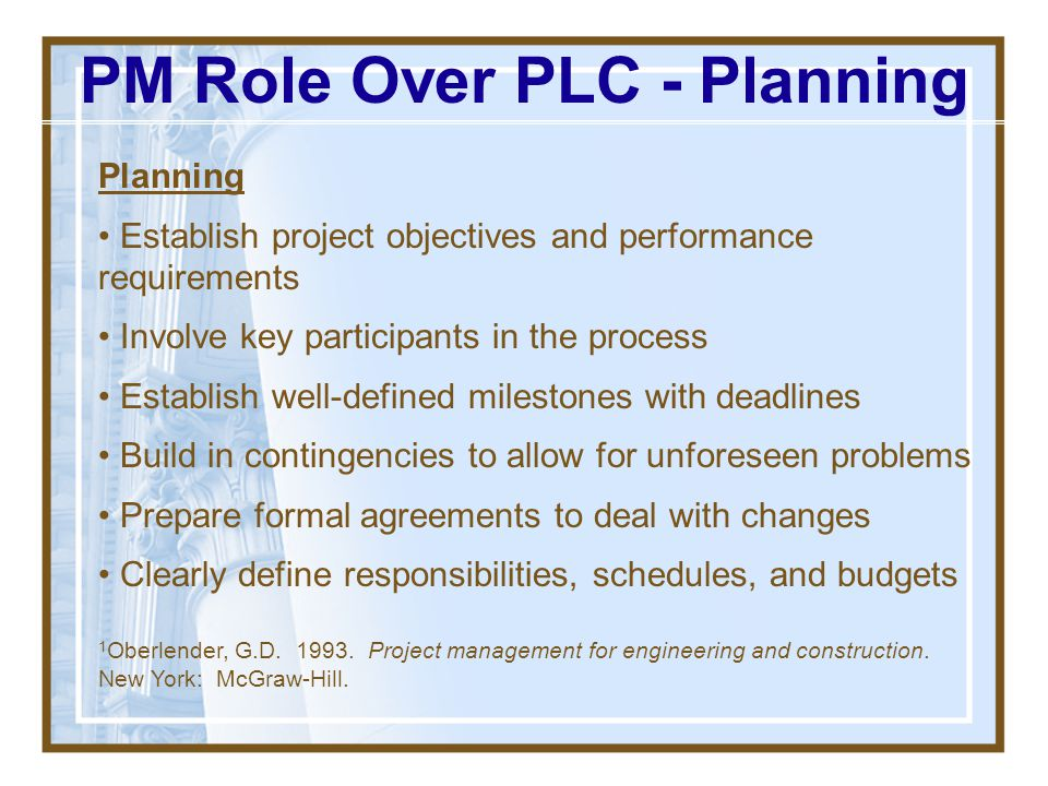 PM Role Over PLC - Planning