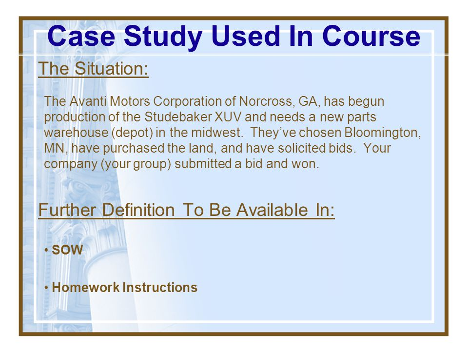 Case Study Used In Course