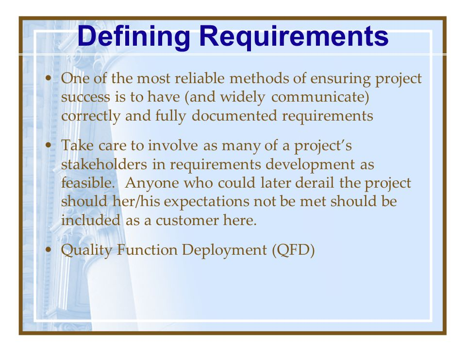 Defining Requirements