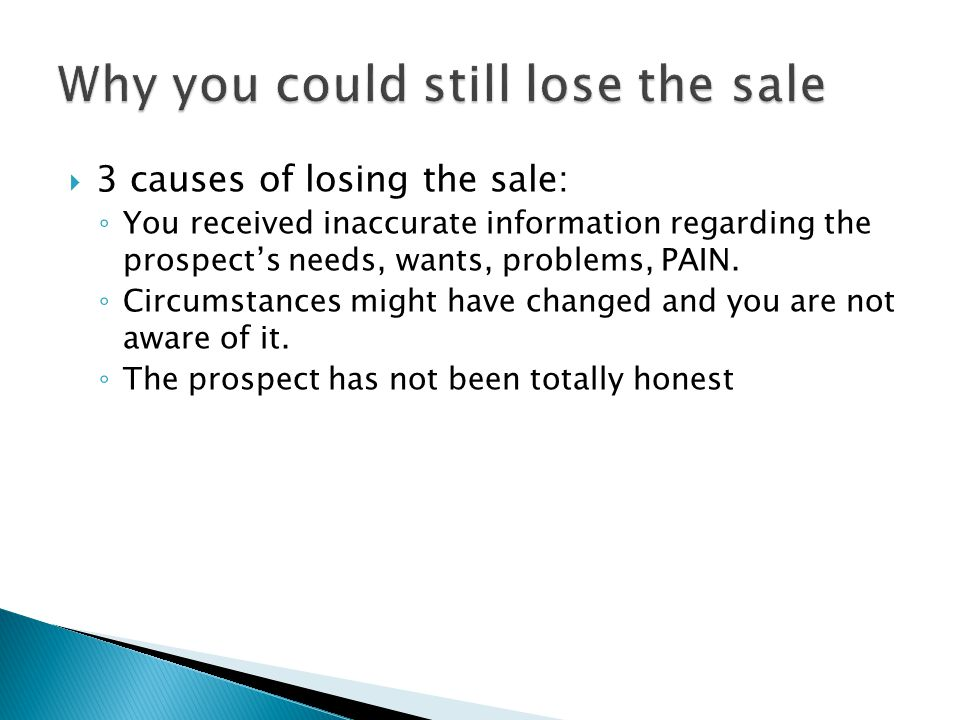 Why you could still lose the sale