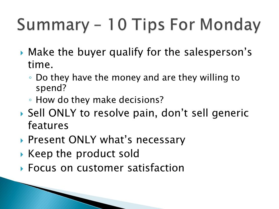 Summary – 10 Tips For Monday