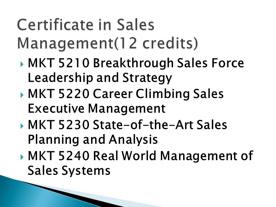 Certificate in Sales Management(12 credits)