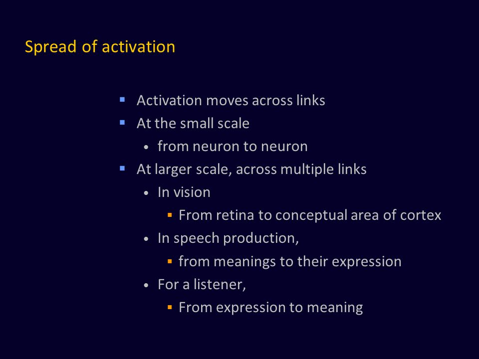 Spread of activation Activation moves across links At the small scale