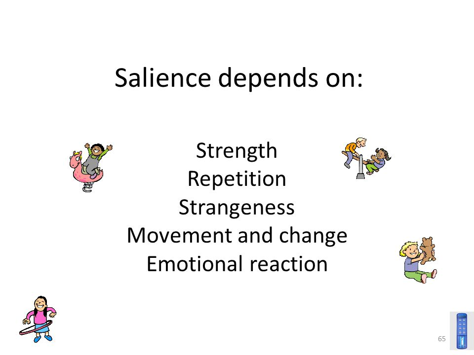 Salience depends on: Strength Repetition Strangeness