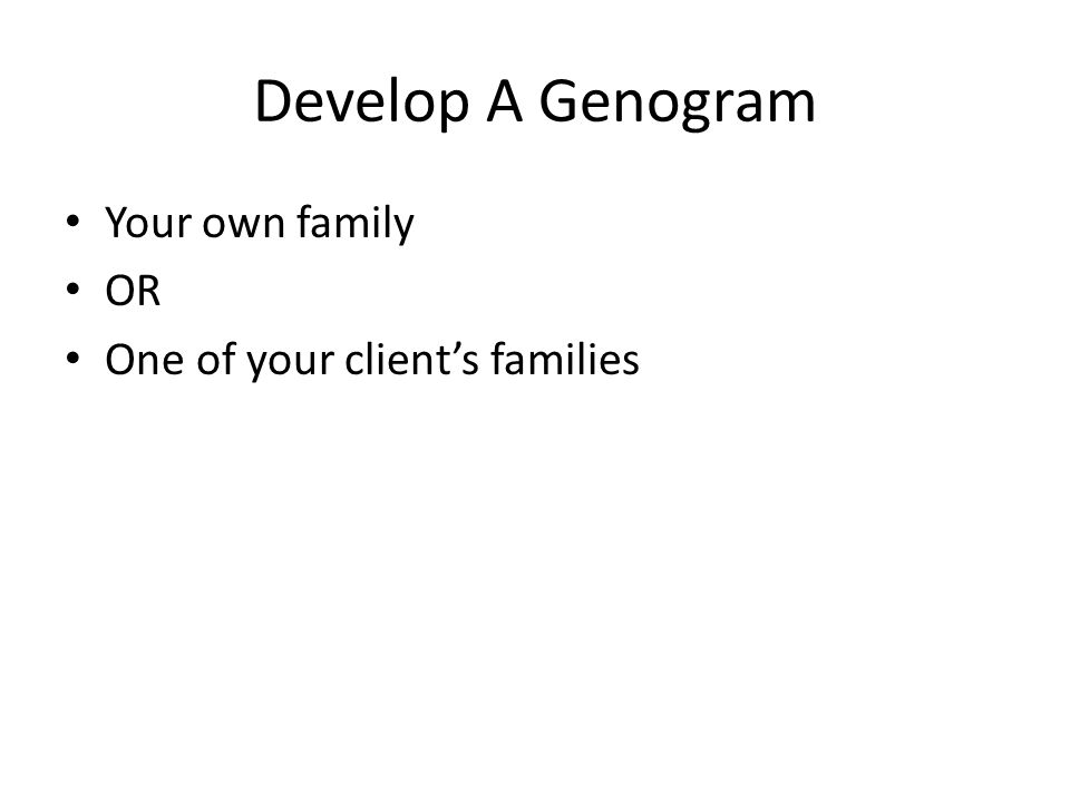 Develop A Genogram Your own family OR One of your client's families
