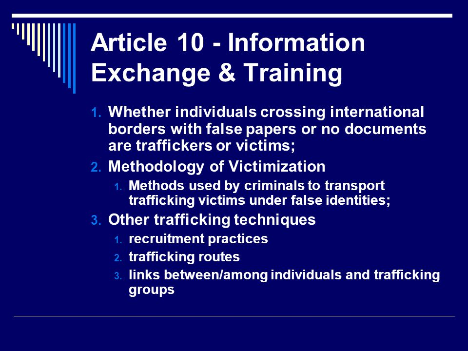 Article 10 - Information Exchange & Training