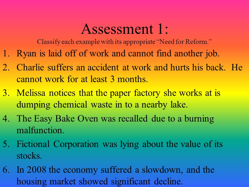 Assessment 1: Classify each example with its appropriate Need for Reform.