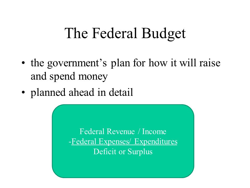 The Federal Budget the government's plan for how it will raise and spend money. planned ahead in detail.