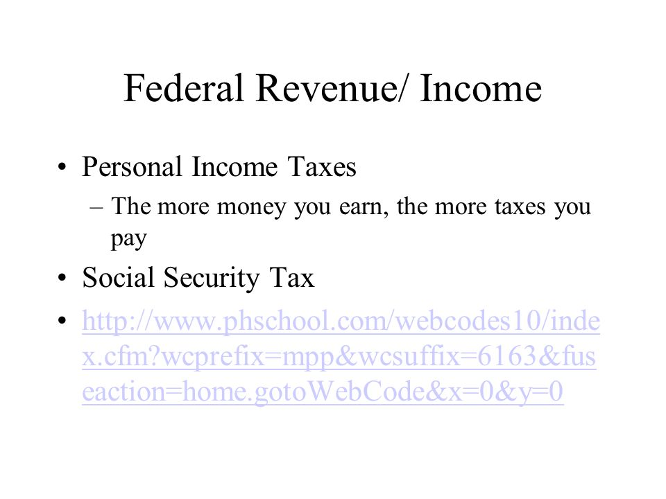 Federal Revenue/ Income