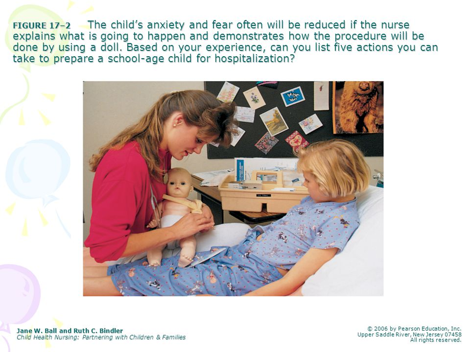 FIGURE 17–2 The child's anxiety and fear often will be reduced if the nurse explains what is going to happen and demonstrates how the procedure will be done by using a doll. Based on your experience, can you list five actions you can take to prepare a school-age child for hospitalization
