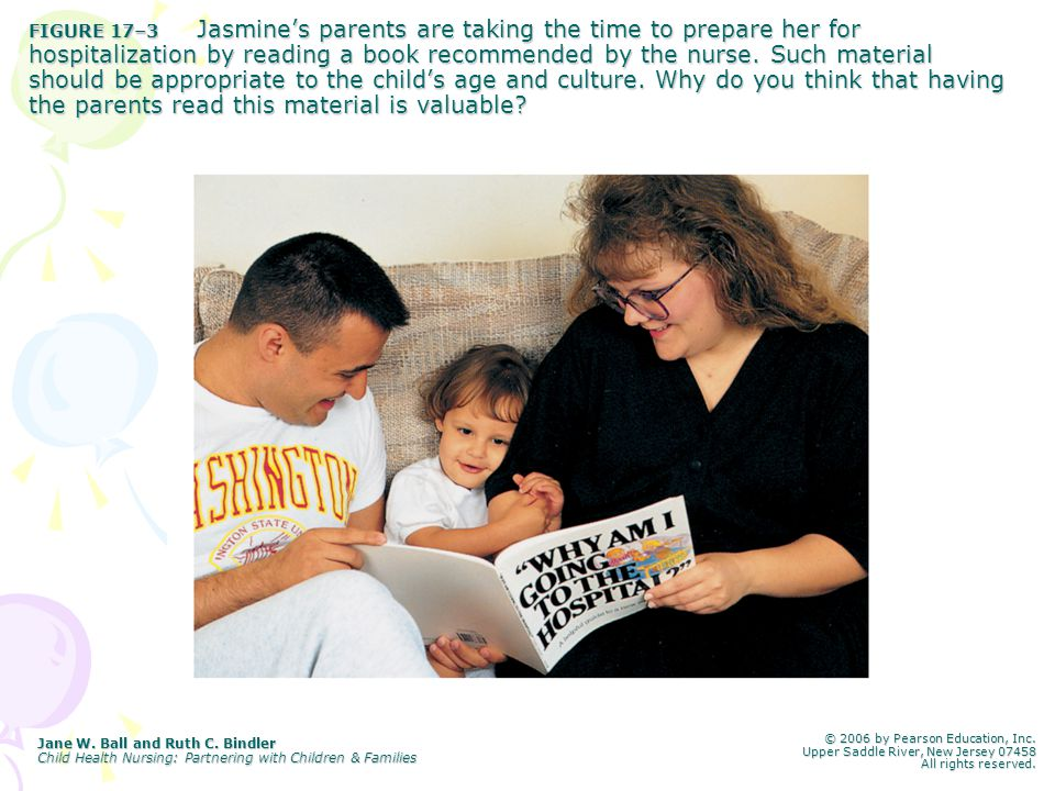FIGURE 17–3 Jasmine's parents are taking the time to prepare her for hospitalization by reading a book recommended by the nurse. Such material should be appropriate to the child's age and culture. Why do you think that having the parents read this material is valuable