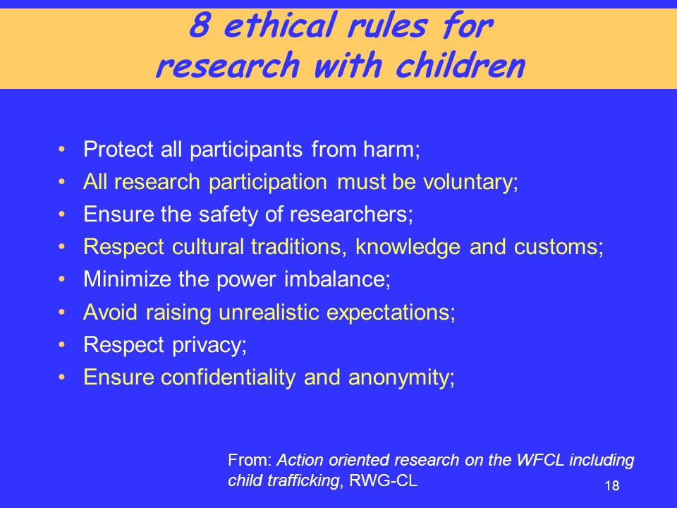 8 ethical rules for research with children