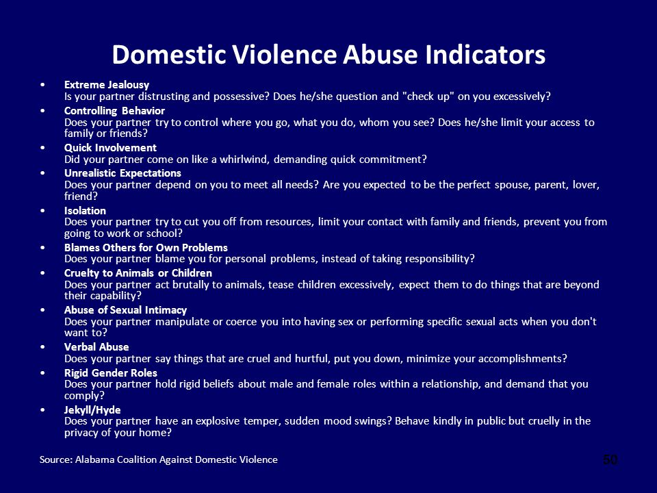 Domestic Violence Abuse Indicators