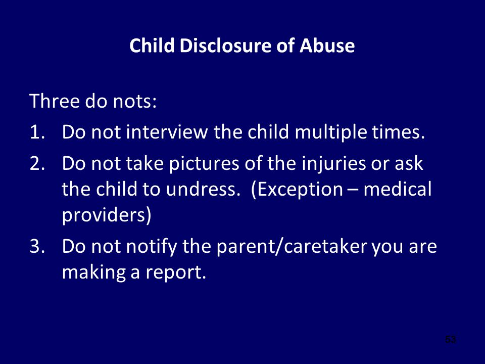 Child Disclosure of Abuse