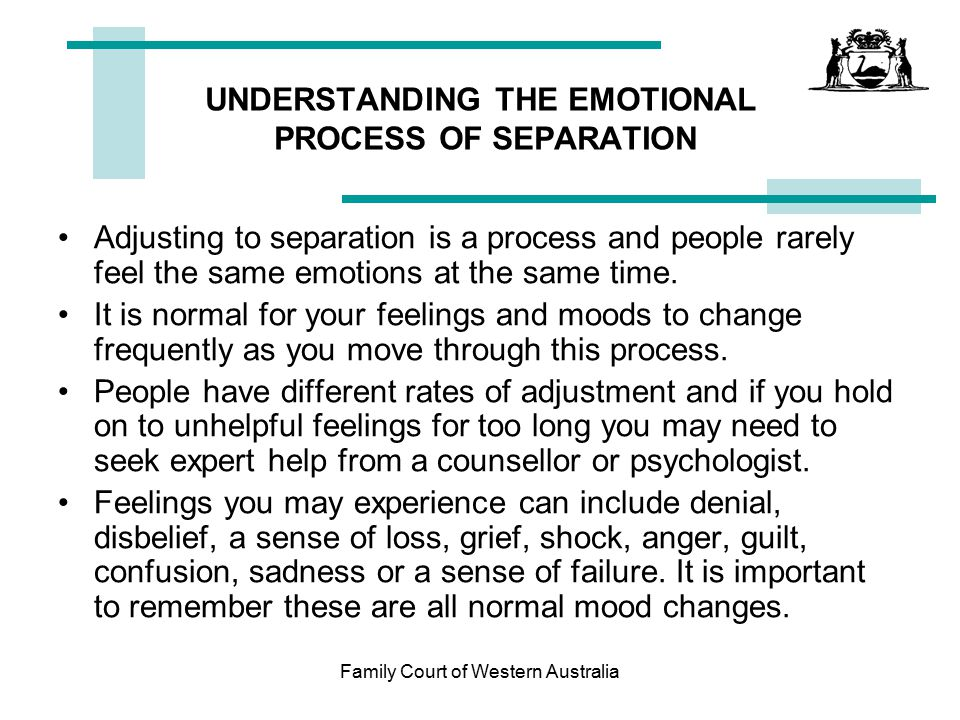 UNDERSTANDING THE EMOTIONAL PROCESS OF SEPARATION