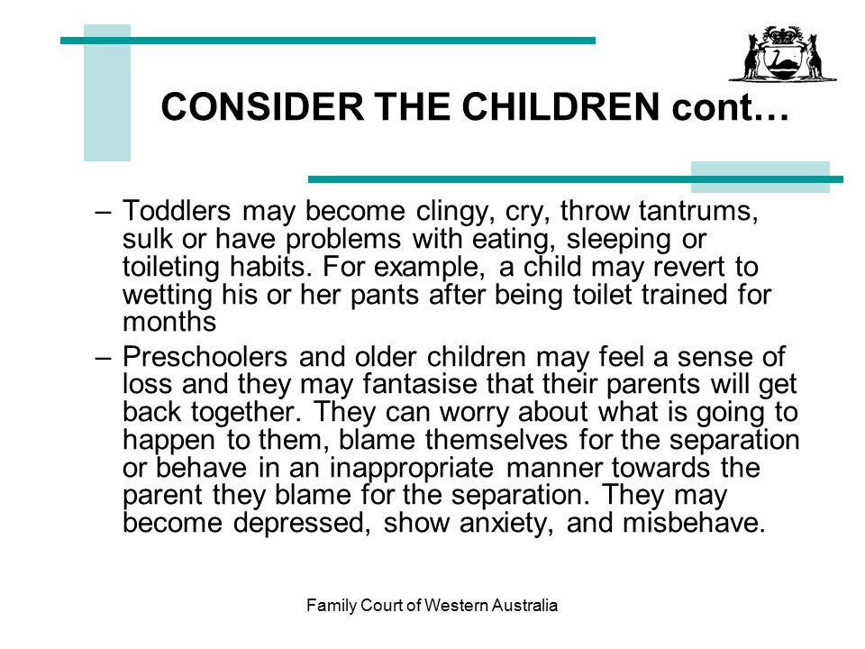 CONSIDER THE CHILDREN cont…