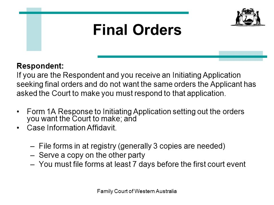 Family court of western australia ppt download family court of western australia solutioingenieria Choice Image