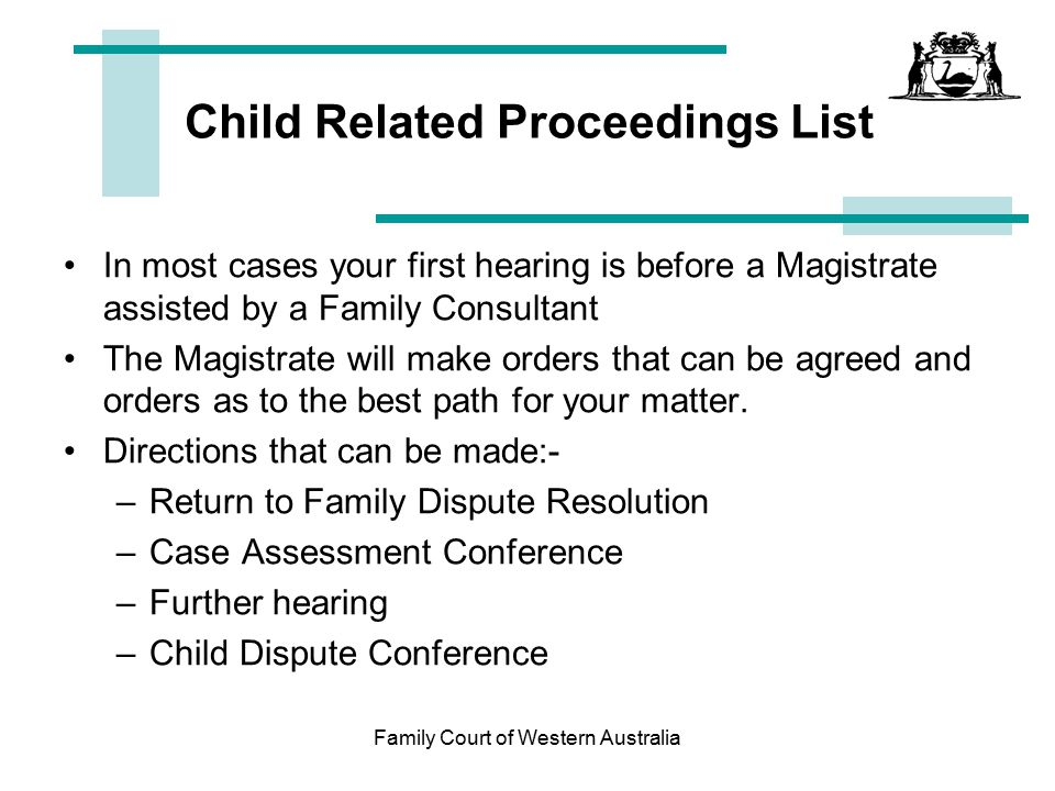 Child Related Proceedings List