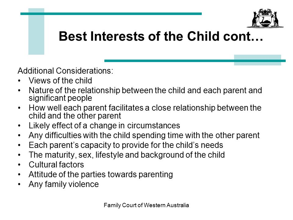 Best Interests of the Child cont…