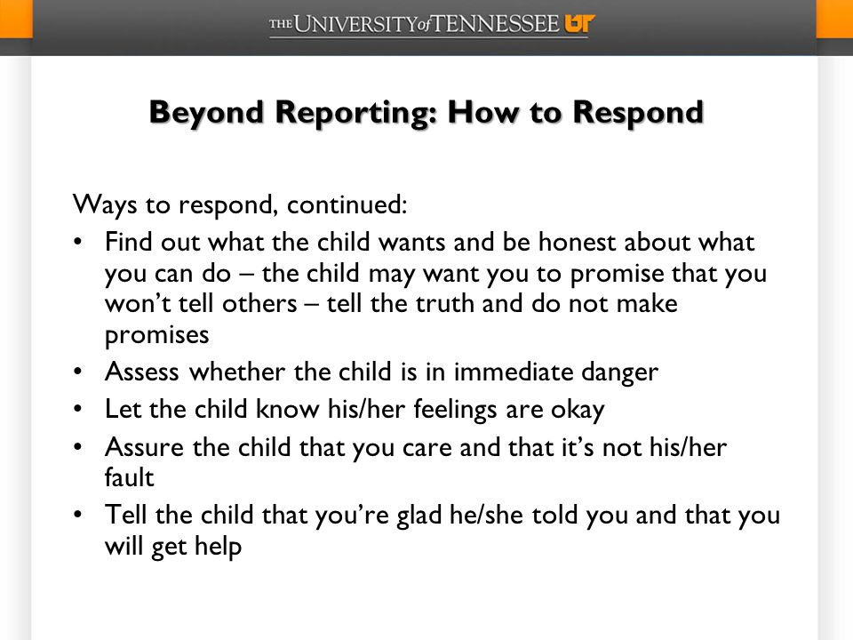 Beyond Reporting: How to Respond
