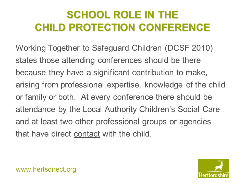 SCHOOL ROLE IN THE CHILD PROTECTION CONFERENCE