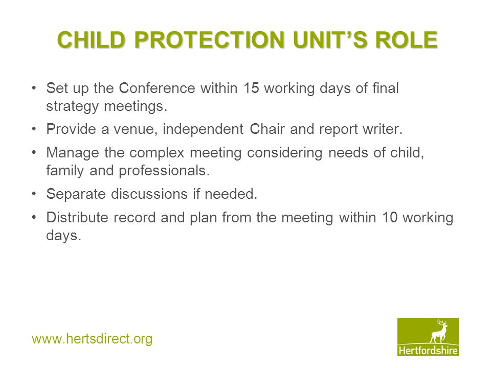 CHILD PROTECTION UNIT'S ROLE