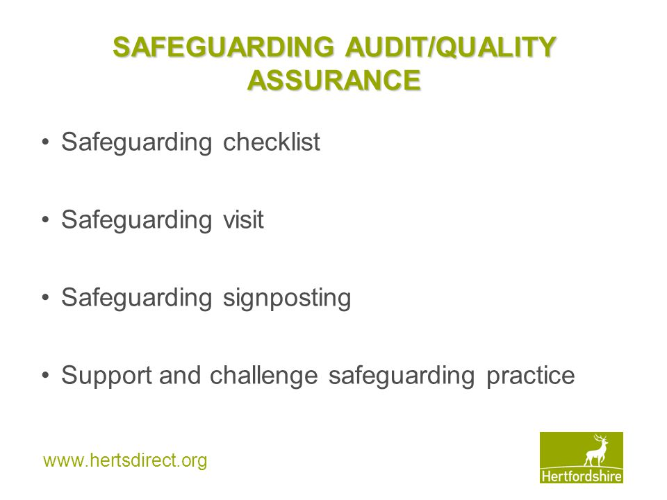 SAFEGUARDING AUDIT/QUALITY ASSURANCE