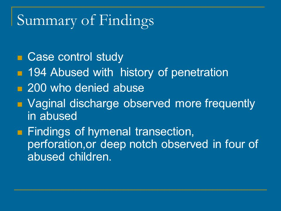 Summary of Findings Case control study