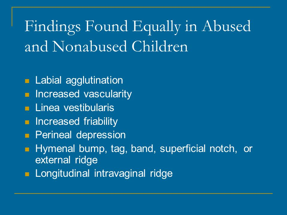 Findings Found Equally in Abused and Nonabused Children