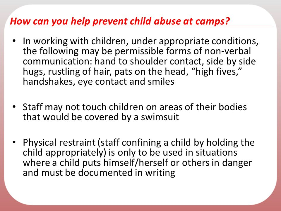 How can you help prevent child abuse at camps
