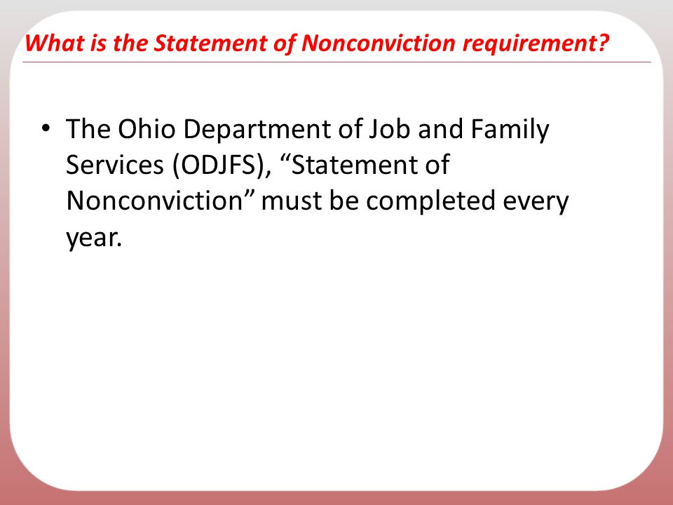 What is the Statement of Nonconviction requirement