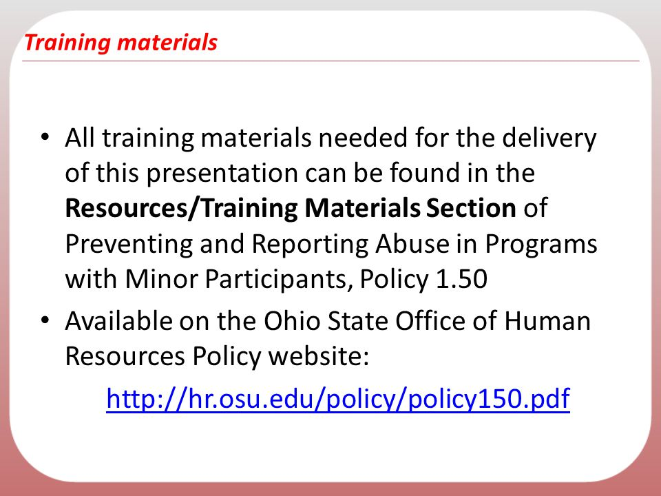 Available on the Ohio State Office of Human Resources Policy website: