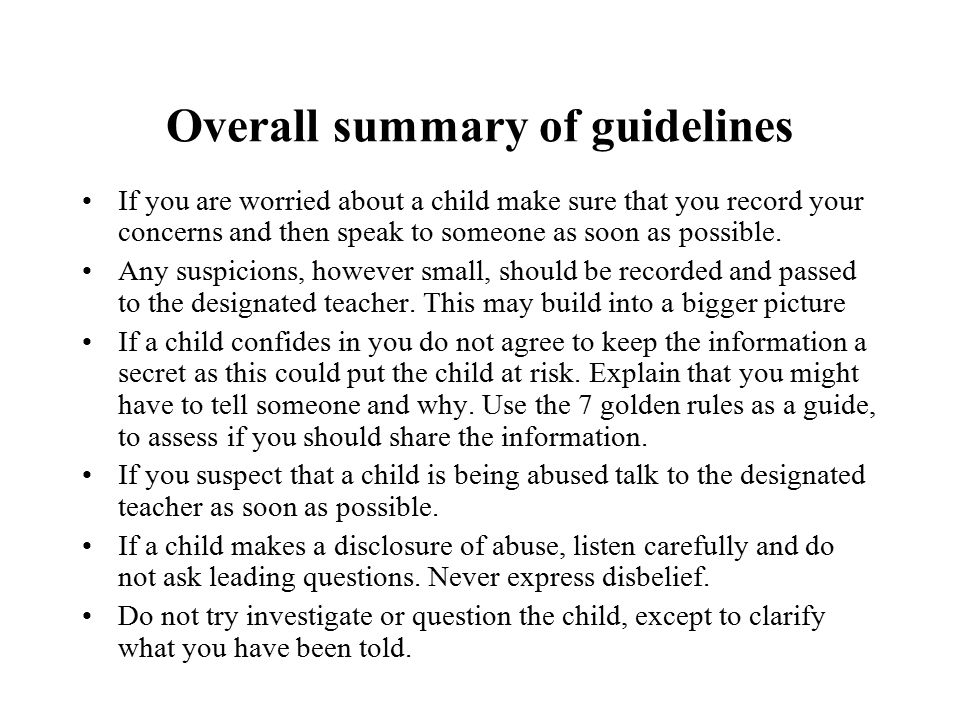 Overall summary of guidelines
