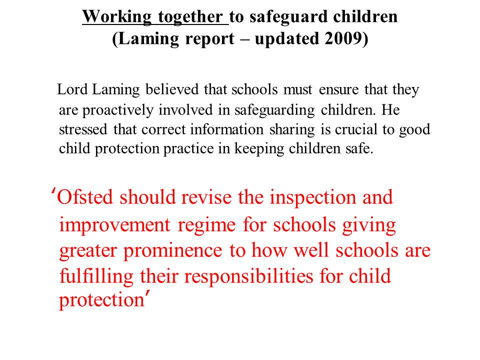 Working together to safeguard children (Laming report – updated 2009)