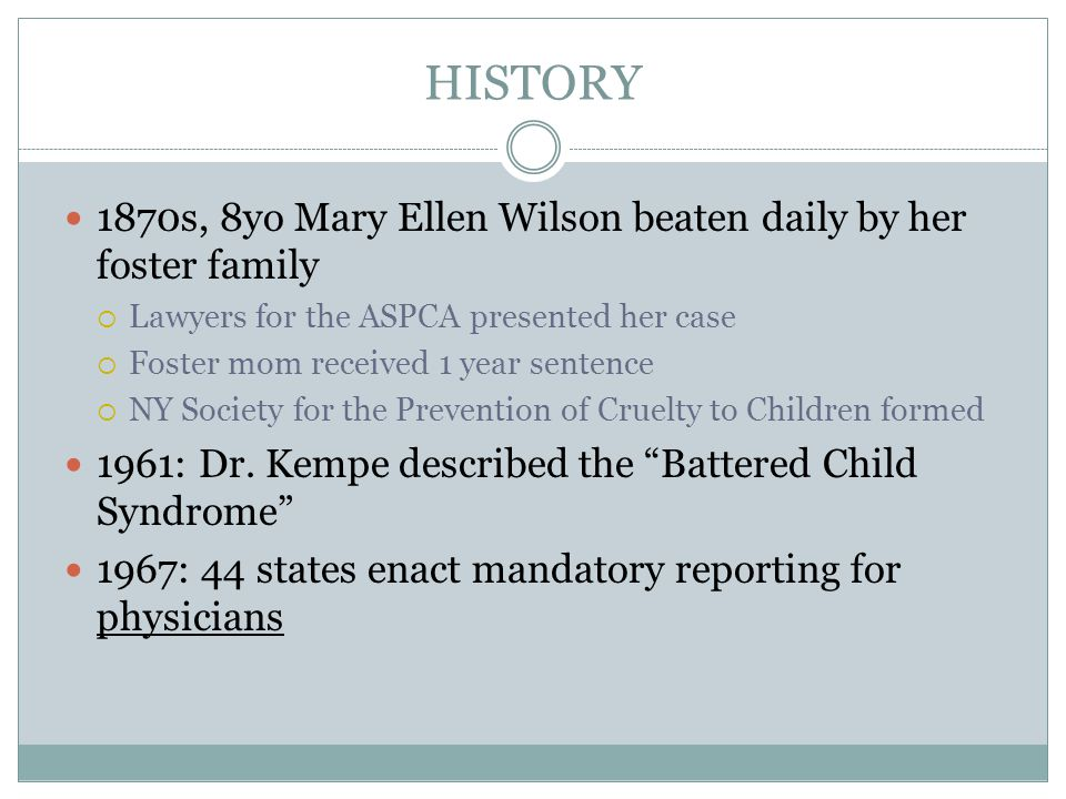 HISTORY 1870s, 8yo Mary Ellen Wilson beaten daily by her foster family